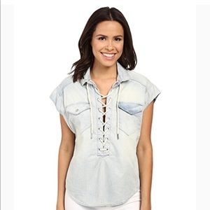 NWT Blank NYC Denim Lace Up Top